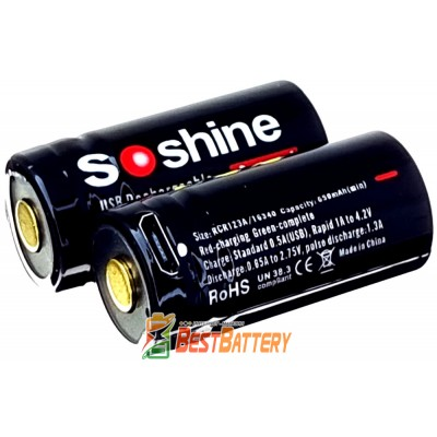 Аккумулятор 16340 Soshine USB 700 mAh Li-Ion 3,7В, 2,1А (RCR123A). Встроенное зарядное устройство с USB.