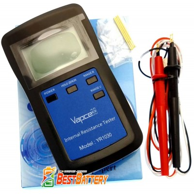 Тестер аккумуляторов Vapcell YR1030 для измерения внутреннего сопротивления и напряжения аккумуляторов.