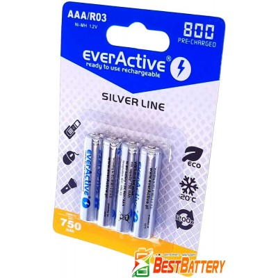 Минипальчиковые аккумуляторы EverActive 800 mAh 4 шт. в блистере - Silver Line, RTU. Цена за уп. 4 шт.