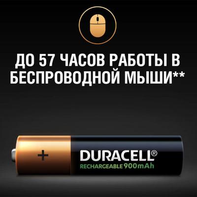 Минипальчиковые аккумуляторы Duracell 900 mAh Rechargeable 4 шт. в блистере, ААА, LSD, RTU.