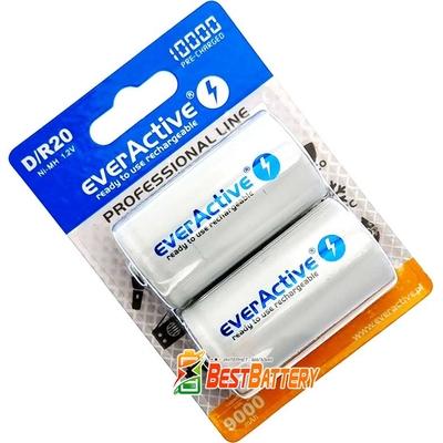 Аккумулятор D (R20 ) EverActive 10 000 mAh RTU, Ni-Mh. Низкий саморазряд. Цена за 1 шт.
