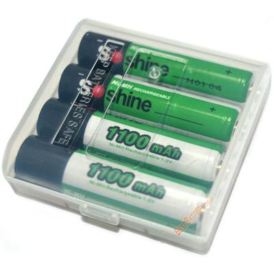 Минипальчиковые аккумуляторы Soshine 1100 mAh + бокс для хранения. Повышенная ёмкость. Цена за уп. 4 шт.