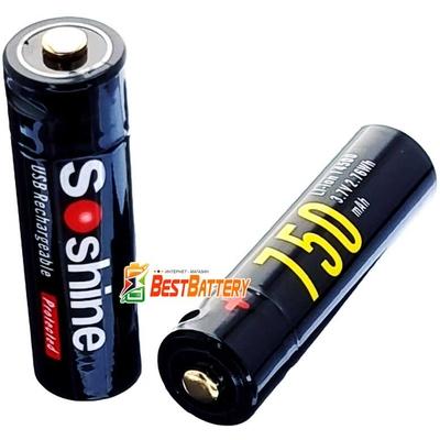 Аккумулятор 14500 (АА) Soshine USB 750 mAh Li-Ion 3.7V, 1.5А с защитой. Встроенное зарядное с USB.