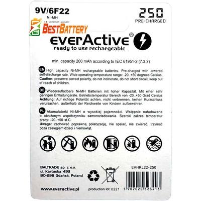 Аккумулятор Крона EverActive 250 mAh Ni-Mh 9В (6F22). Низкосаморазрядные.