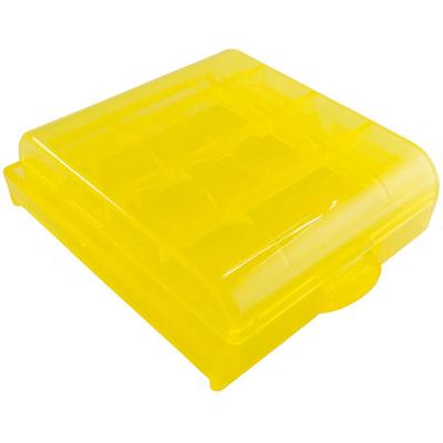Желтый пластиковый бокс  для пальчиковых АА и минипальчиковых ААА аккумуляторов.