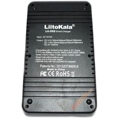 Зарядное устройство LiitoKala Lii-500 на 4 Ni-Mh, Ni-Cd и Li-ion аккумулятора с функцией Power Bank.