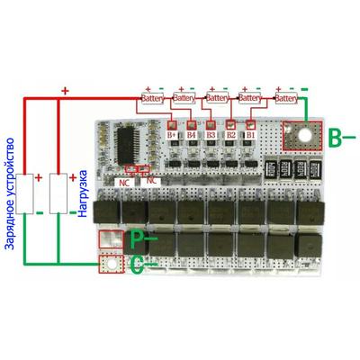 Плата защиты BMS 5S 100A 18В (21В) для Li-Ion аккумуляторов (контроллер заряда/разряда) с балансировкой.