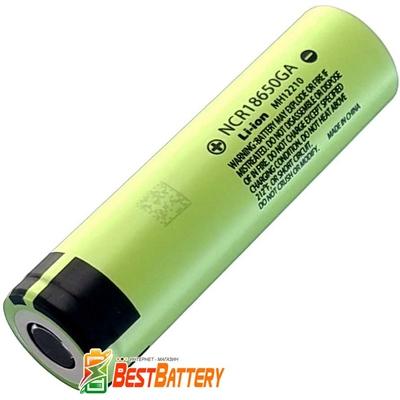 Аккумулятор 18650 Panasonic NCR 18650GA 3500 mAh, Li-ion 3.7В, 10A, без защиты, Green. Оригинал.