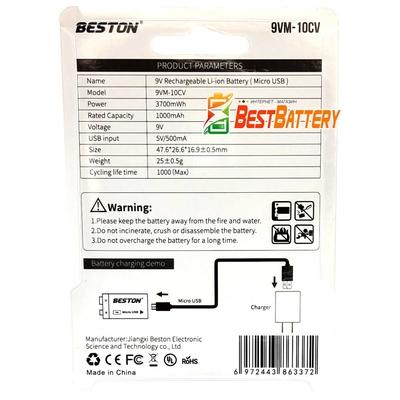 Аккумулятор Крона 9В Beston 1000 mAh Li-Ion со встроенным USB портом для зарядки и индикацией заряда.