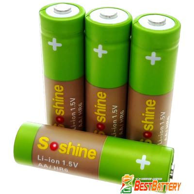 Аккумулятор АА Soshine 1.5V Li-Ion 3300 mWh поштучно. Номинальное напряжение 1.5В. Цена за 1 шт.