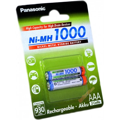 Минипальчиковые ААА аккумуляторы Panasonic 1000 mAh (min 930 mAh) BK 4HGAE в блистере. Япония. Цена за уп. 2 шт.