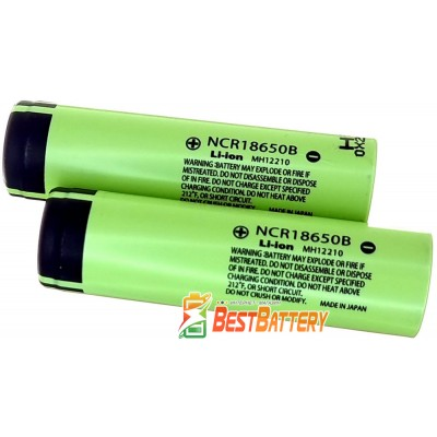 Аккумулятор 18650 Panasonic NCR 18650B 3400 mAh без защиты, Li-Ion, 6.8А, 3.7В (4.2В).