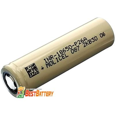 Аккумулятор 18650 Molicel P26A 2600 mAh Li-Ion INR, 3,7В, 35А, Высокотоковый(аналог Sony/Murata VTC5A). Оригинал!