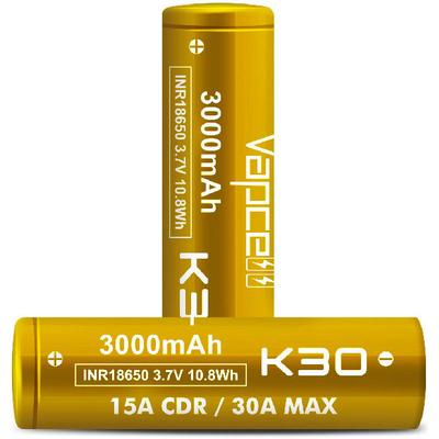 Li-Ion высокотоковый аккумулятор VapCell INR 18650 K30 Gold ёмкостью 3000 mAh без защиты. 15A (30A), аналог Samsung 30Q.
