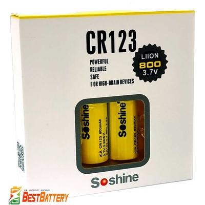 Аккумулятор 16340 / CR 123 Soshine 800 mAh 3.7В, 2.4A, Li-Ion (ICR). Без защиты, с выступающим плюсом (CR123-3.7-800).