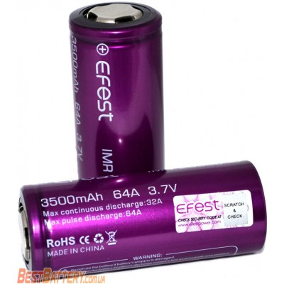 Li-Ion IMR аккумулятор 26650 Efest 64A (32A) 3500 mAh без защиты. Высокотоковый аккумулятор.