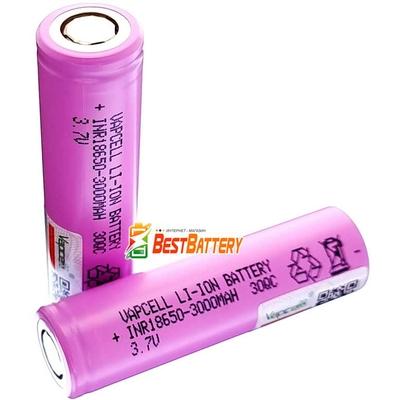 Аккумулятор 18650 VapCell 30QC 3000 mAh Li-Ion INR, 3.7В, 15А (30A). Высокотоковый (аналог Samsung 30Q).