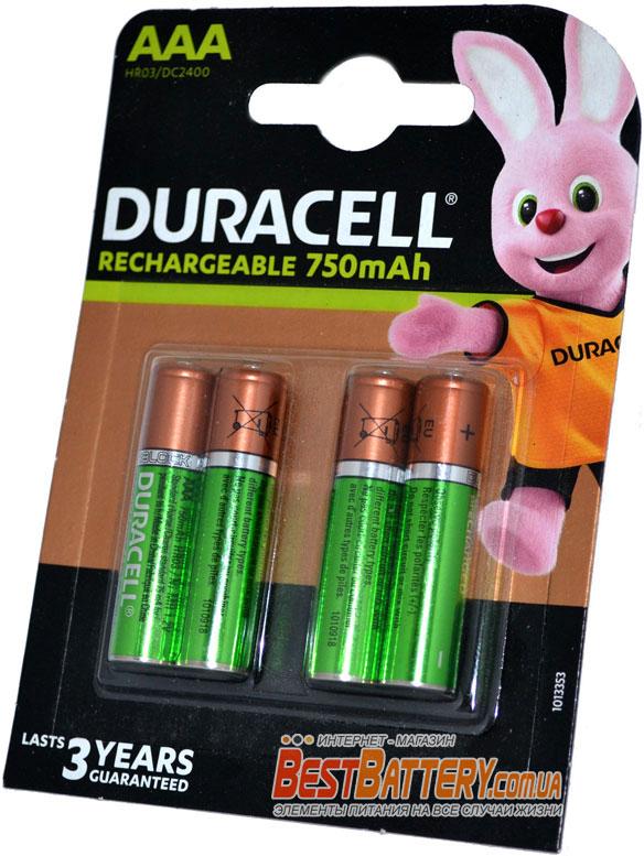 Минипальчиковые аккумуляторы Duracell 750 mAh AAA 4 шт в блистере.