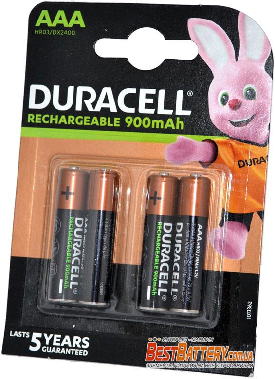 Минипальчиковые ААА аккумуляторы DURACELL на  900 mAh, 4 шт. в блистере.