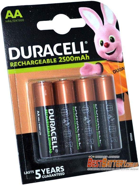 Пальчиковые АА аккумуляторы DURACELL 2500 mAh 4 шт. в блистере.
