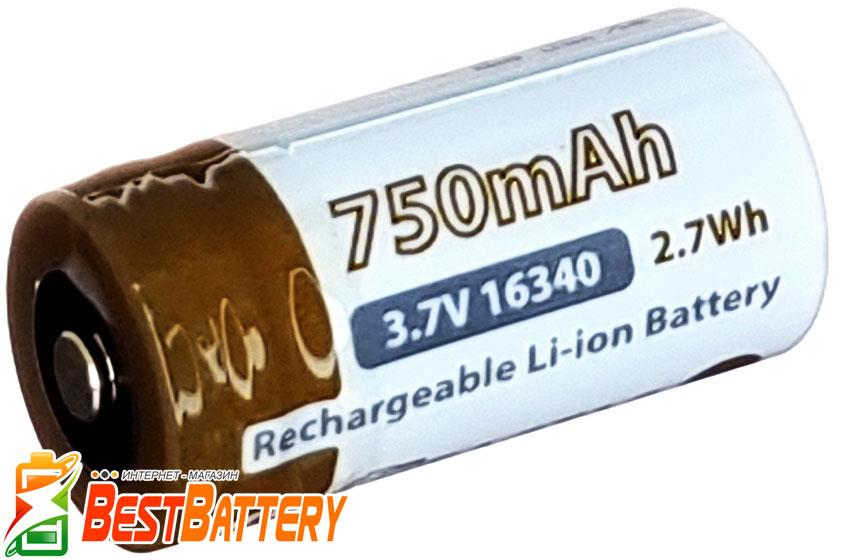 Аккумуляторы EagTac RCR123 3,7В с защитой высокая реальная ёмкость 750 mAh,