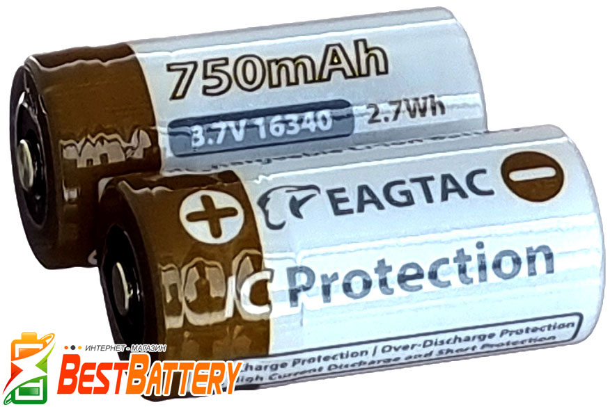 Аккумуляторы EagTac RCR123 3,7В с защитой (Protected).