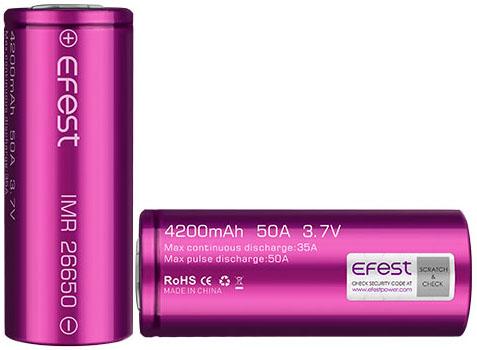 Efest 26650 4200 mAh 35A (50A) Li-Ion высокотоковый IMR аккумулятор без защиты.