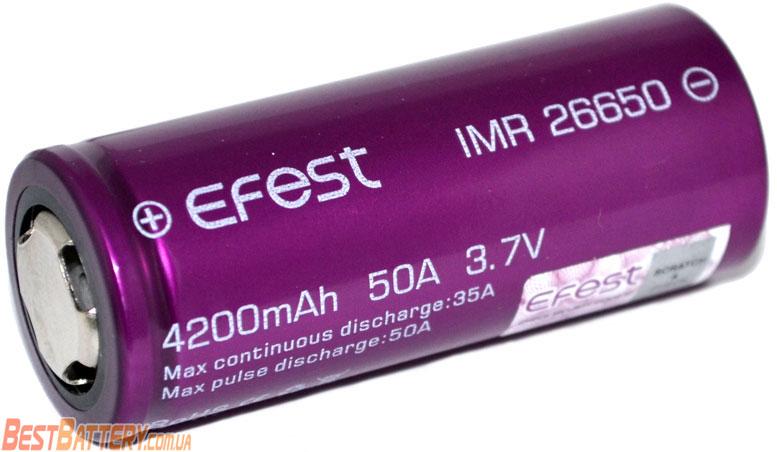 Особенности аккумуляторов 26650 Efest 4200 mAh 35A (50A).