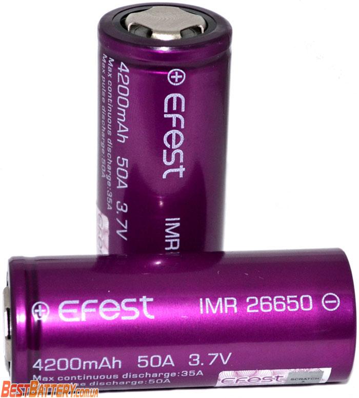 Аккумуляторы Efest 4200 mAh 35A (50A).