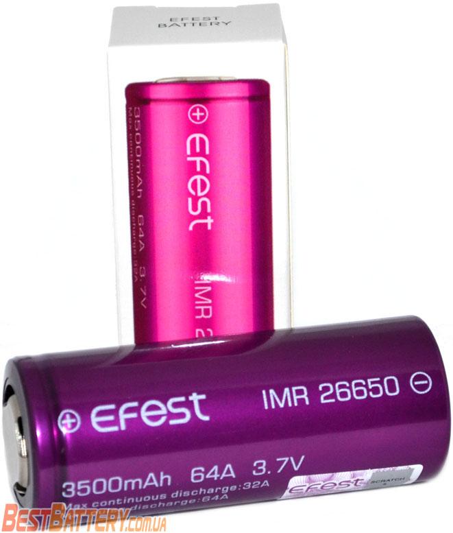 Техническая характеристика Efest 26650 64A.