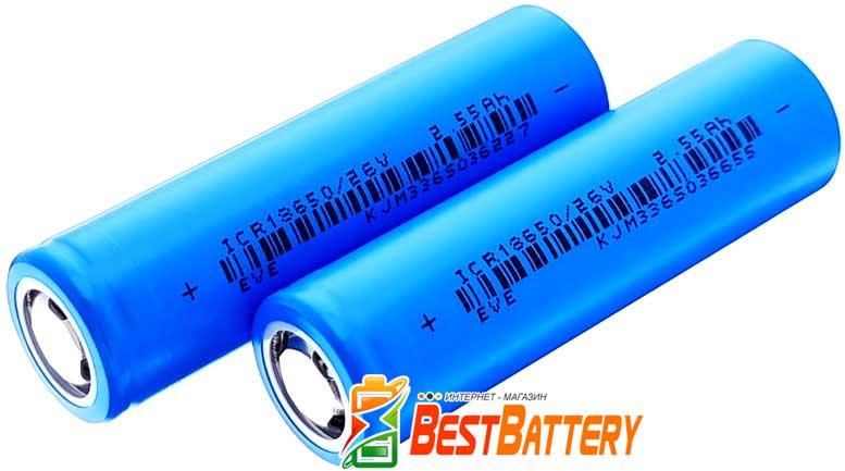 Li-Ion аккумулятор 18650 EVE 26V 2550 mAh, 7.65А, без защиты.