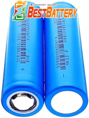 EVE ICR 18650 2550 mAh 26V - промышленные Li-ion аккумуляторы формата 18650 без платы защиты.