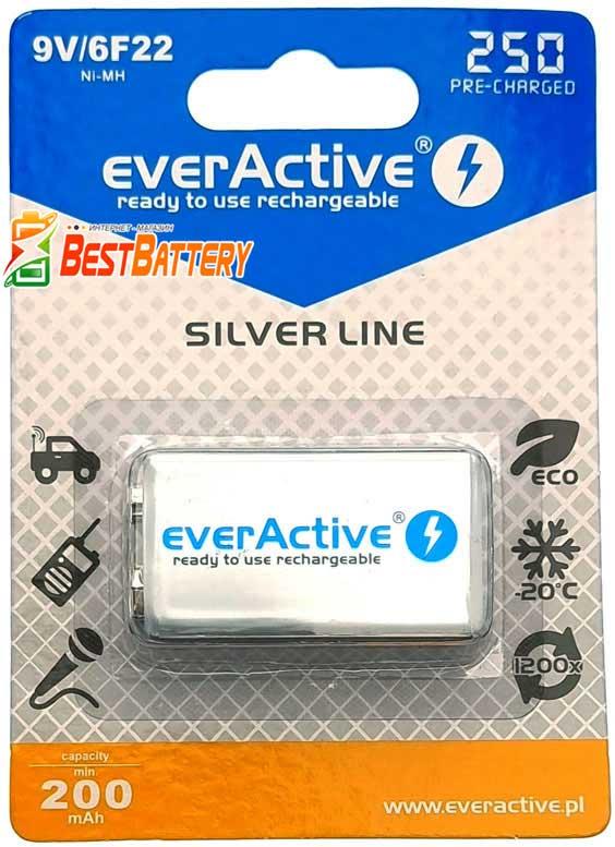 Крона Ever Active 9V 250 mAh - Ni-Mh низкосаморазрядные аккумуляторы Крона ёмкостью 250 mAh.