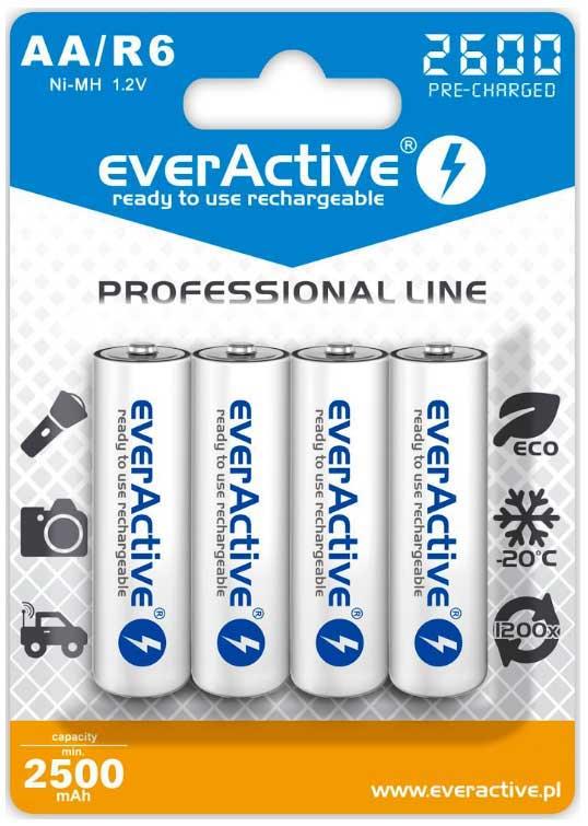 Пальчиковые аккумуляторы EverActive 2600 mAh (EVHRL6-2600) в блистере (АА).