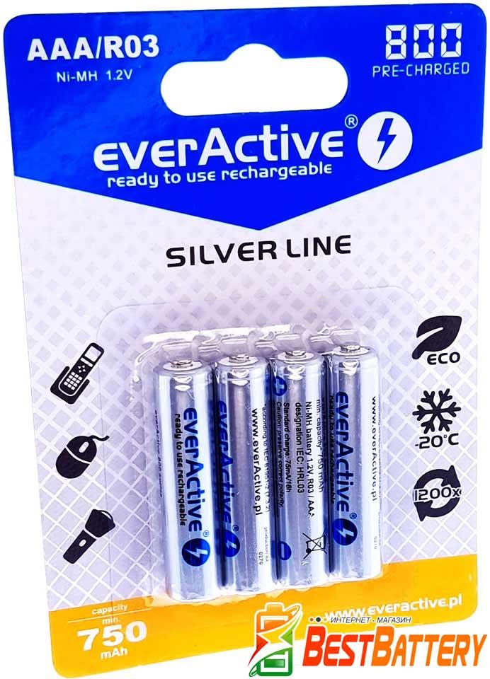 Аккумуляторы ААА EverActive 800 mAh 4 шт. в блистере - Silver Line, RTU.