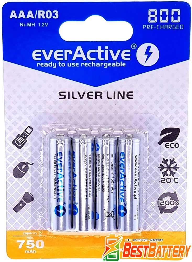 Минипальчиковые аккумуляторы EverActive 800 mAh 4 шт. в блистере.