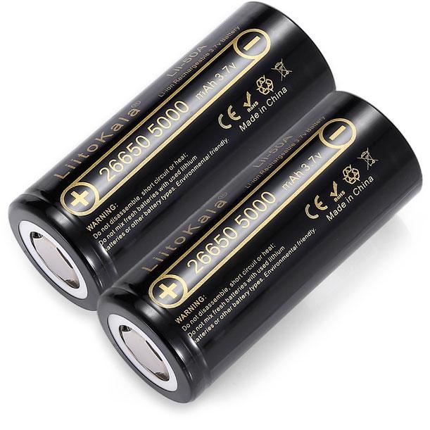 Высокотоковый Li-Ion аккумулятор 26650 Liitokala 5000 mAh 10A (25А).
