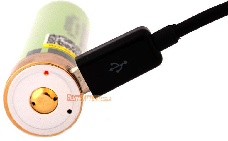 Светодиодная индикация в аккумуляторе Liitokala 3400 USB 34B 18650.
