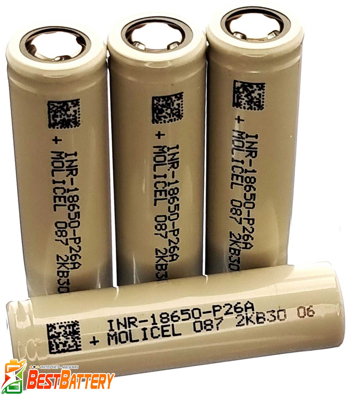 Аккумулятор 18650 Molicel P26A 2600 mAh Li-Ion INR, 3.7В, 35А, Высокотоковый.