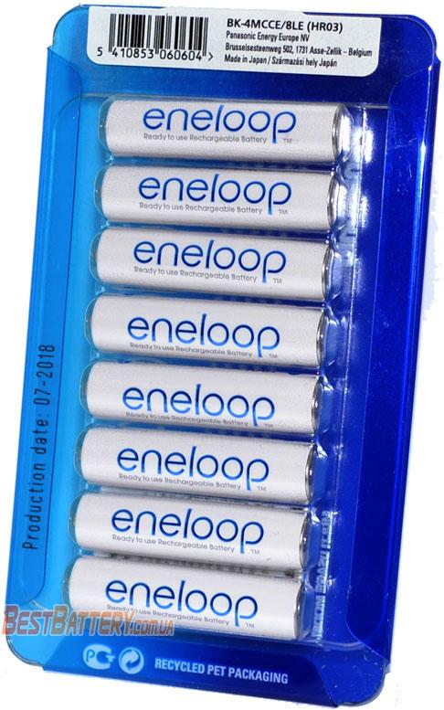 8 аккумуляторов Panasonic Eneloop 800 mAh (min 750 mAh) BK-4MCCE/8LE в блистере (AAA).