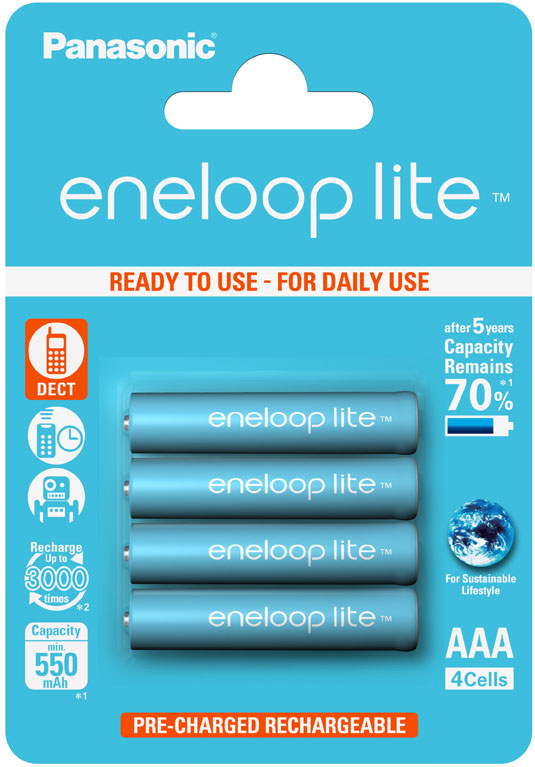 Аккумуляторы Panasonic Eneloop Lite AAA (BK-4LCCE) в блистере