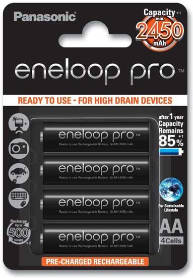 Пальчиковые аккумуляторы Panasonic Eneloop Pro 2550 mAh (min 2450 mAh) BK 3HCCE упаковка бокс
