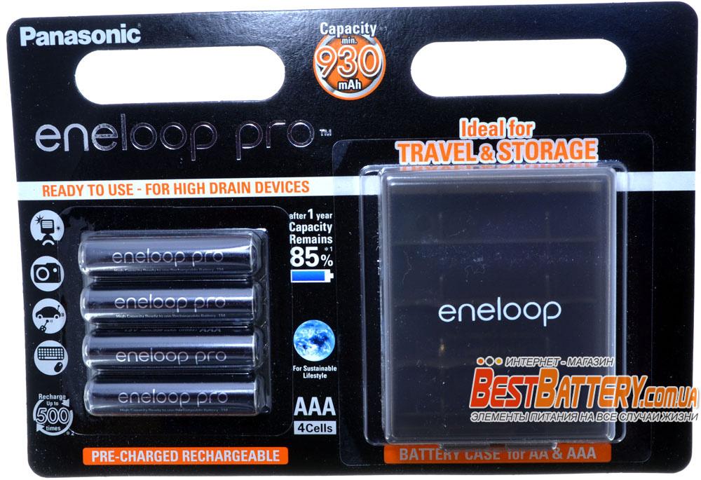 Panasonic Eneloop Pro 980 mAh (min 930 mAh) BK-4HCDE/4BE + Бокс Eneloop.