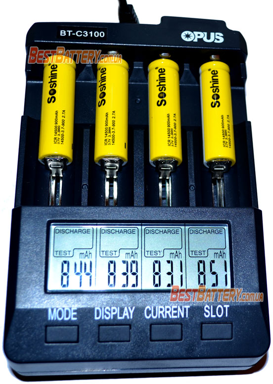 Результат теста аккумуляторов Soshine 14500 900 mAh без защиты.