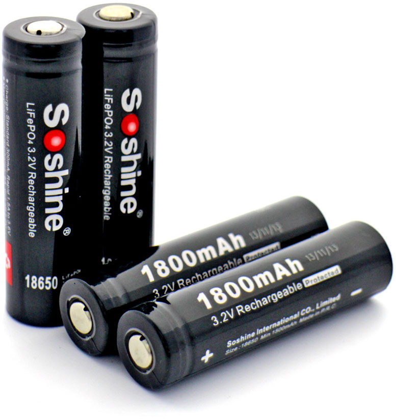 IFR аккумуляторы 18650 Soshine LiFePO4 1800 mAh.