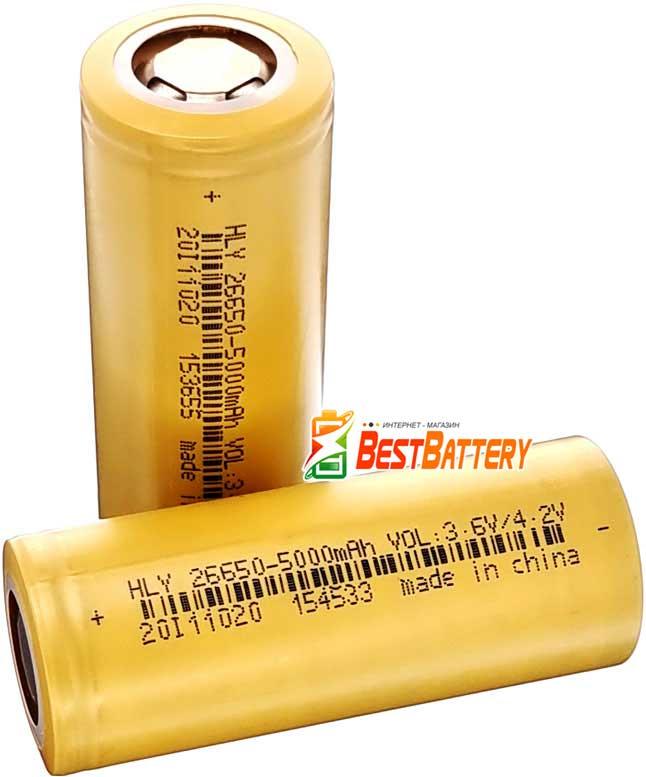 Аккумулятор 26650 Soshine 5000 mAh Li-Ion NCR 3.7В, 15A (25A). Высокотоковый без защиты.