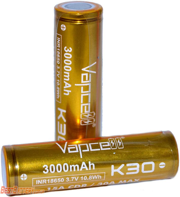 Li-Ion аккумуляторы Vapcell INR 18650 K30 Gold 3000 mAh 15A (30А).