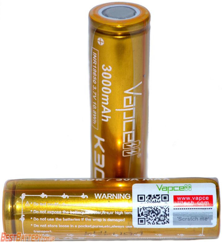 Аккумуляторы Vapcell INR 18650 K30 Gold 15A (30A) 3000mAh.