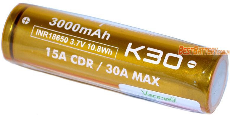 VapCell INR 18650 K30 Gold 3000 mAh - высокотоковый Li-ion аккумулятор без защиты на 15А.