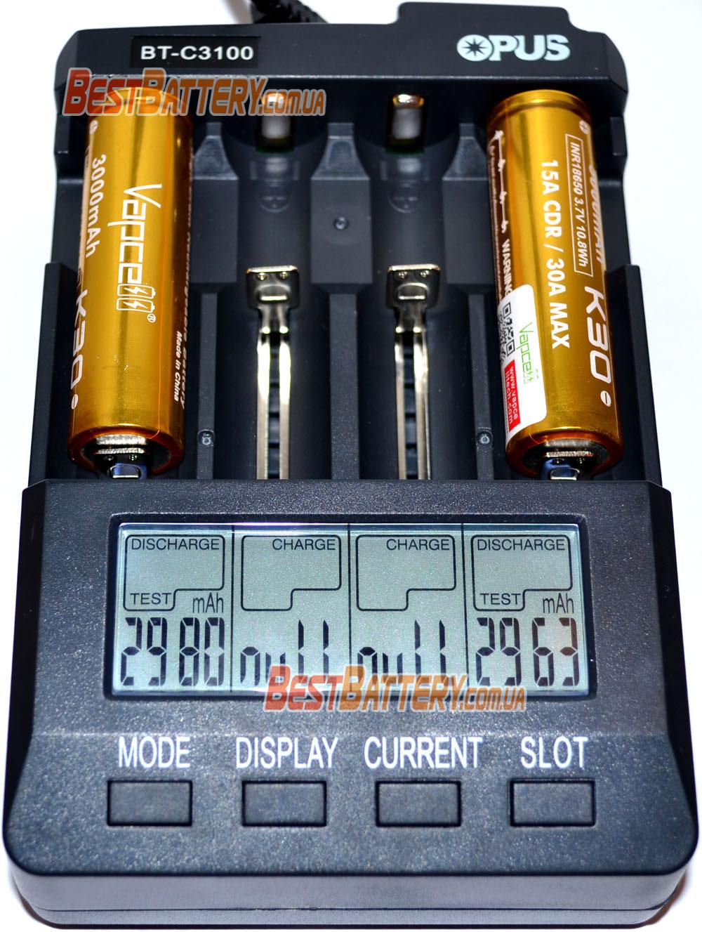 Результат тестирования 18650 Vapcell К30 3.7V 3000 mAh Gold 15A (30A).